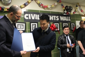 East-West receives Citation from New York State Assembly Member Nily Rozic from her Chief of Staff, David Ng