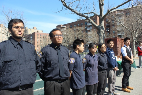 East-West's NYPD Explorer Program and Student Body President and VP were present to lead the Pledge of Allegiance.