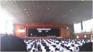 Welcoming assembly at Nishio High School