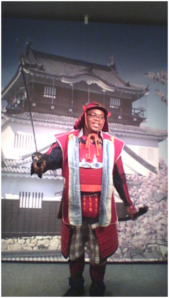 This is a picture of me trying on traditional samurai armor