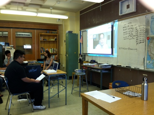 Author Gene Yang skypes with our 11th graders.