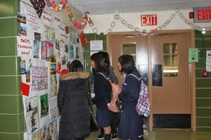 Our Sister School students  viewing East-West Wall of Japan
