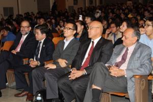 Shown from l to r: Principal Sherman, Honorable Councilman Koo, Jun Ishihara Consulate General of Japan in New York, Principal