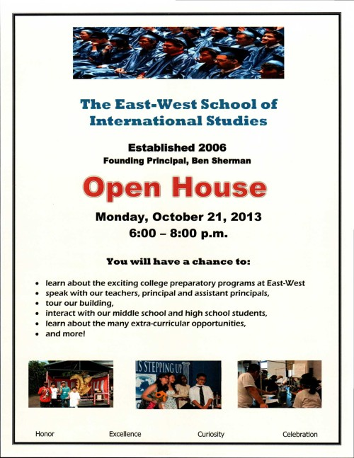 Open House flyer in color