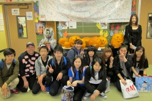Pumpkin carving with Mr. DeMeo's students