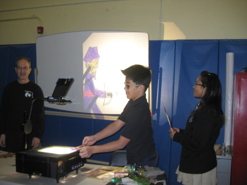 Students were guided through the process of making their own shadow figures come alive.