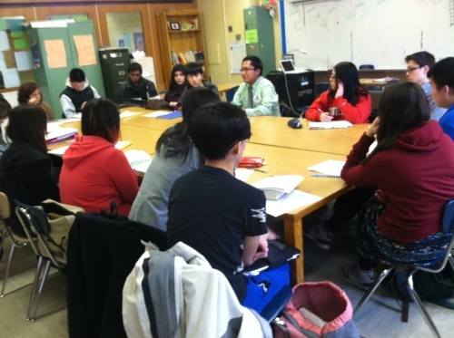 Mr. Jason Curley from the American Indian Community House shares his expertise with Ms. Matthusen's AP Literature Class