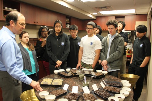 Our students had the opportunity to sample various coffee blends through a practice known as cupping.