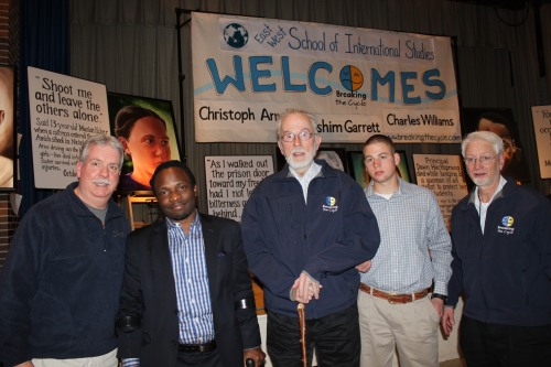 From left to right: Charles Williams, Hashim Garrett, Christoph Arnold, assistant to Christoph Arnold, and Ian Winter