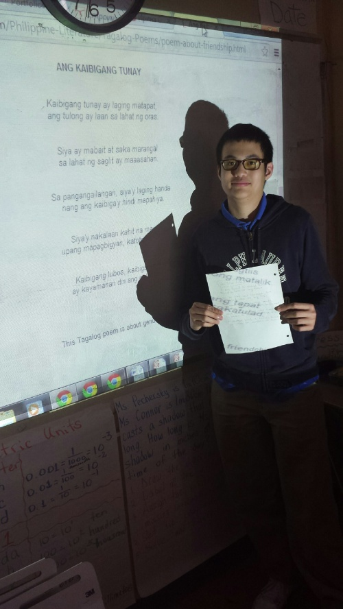 Christian shares a poem from the Philippines in Tagalog and English