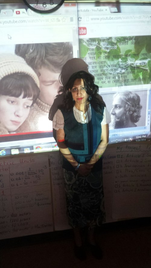 Ms. Ahmed also shares a poem, video, and song in Bangla, translated into English