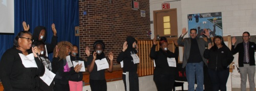 Our Jr. NAACP Club members led a Moment of Silence for Ferguson this morning at Muster.