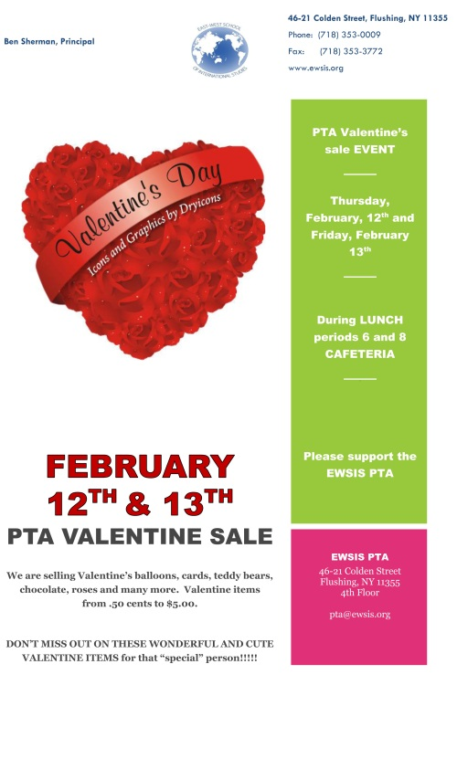 February 12 and 13th V Sale - PTA
