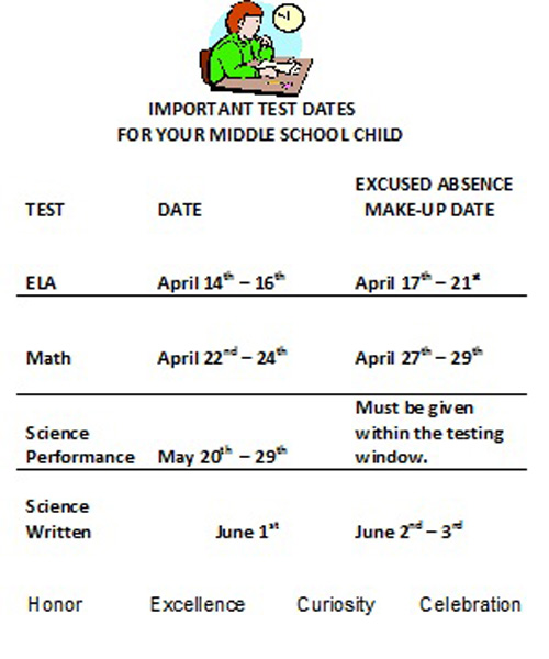 2015 Middle School Test Dates