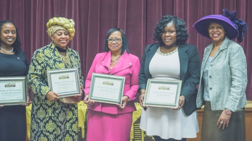 Ms. Patterson, second from the right, being honored by The Association of Black Educators of New York.