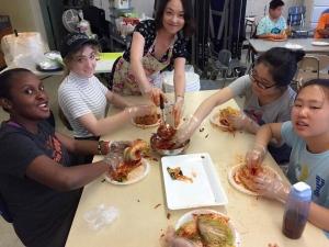 High School Students and Ms.An making Kimchi