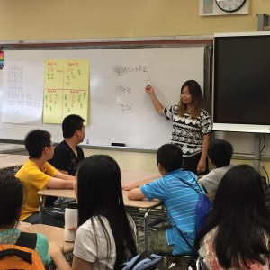 Ms. Choi teaching Korean language and culture