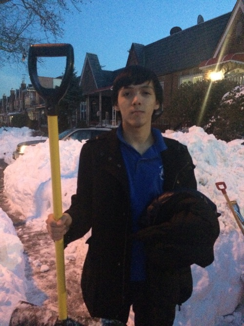 With shovel in hand, Anton Homitz was ready to clear the way.