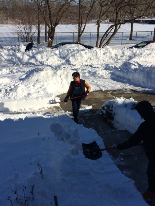 Zenan Hu, Calvin and Darren Huang, shoveled