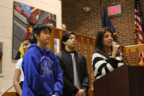 Ms. Marinos and student government organized a special assembly to welcome Nishio High School.