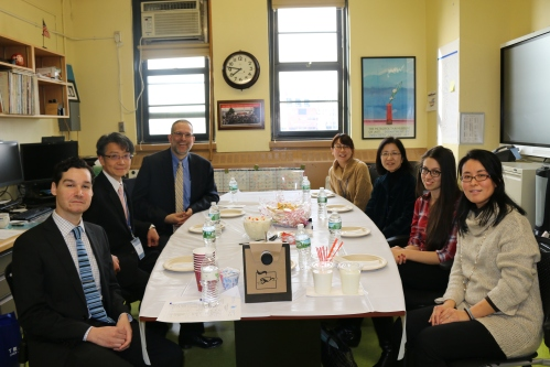 Sharing knowledge and methodology across cultures and education systems. From l to r: AP Mr. Bantz, AP Mr. Miura, Principal Sherman, Ms. Hatano, Ms. Suzuki, Ms. Binaso and Ms. Wilson.